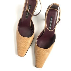 Like New! NINE WEST Leather Ankle Strap Heels